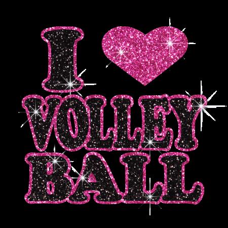 Bling I Heart Volleyball Pink Heart Iron-on Glitter Transfer