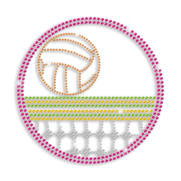 Colorful Volleyball over Net Iron-on Rhinestone Transfer