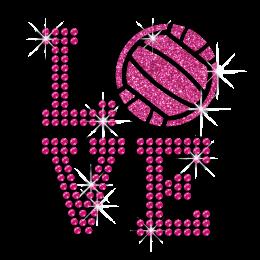 Pink Love Volleyball Iron on Glitter Rhinestone Transfer