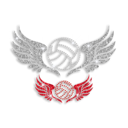 Silver & Red Volleyball Flying with Wings Iron on Glitter Rhinestone Transfer
