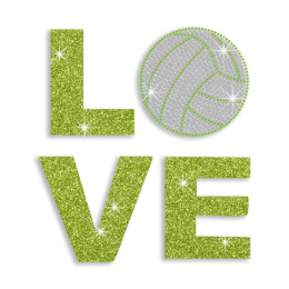 Spring Green Volleyball Love Iron on Glitter Rhinestone Transfer