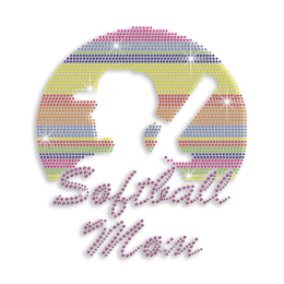 Colorful Softball Mom Nailhead Iron-on Rhinestone Transfer