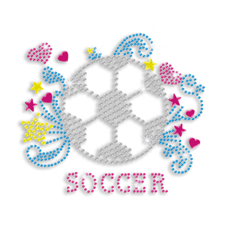 Colorful Soccer with Stars and Hearts Bling Transfer