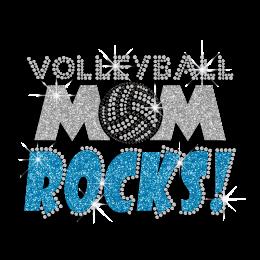 Hotfix Bling Volleyball Mom Rocks Motif