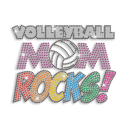 Colorful Bling Hot Fix Design Volleyball Mom Rocks