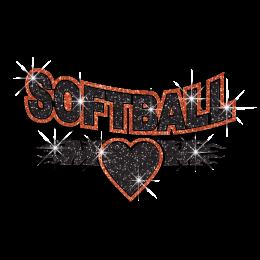 Softball Mom and Heart Hotfix Glitter Iron ons for Shirts