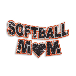 Softball Mom in Black and Orange Hotfix Glitter Design