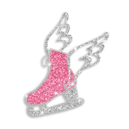 Creative Ice Skating Shoes with Wings Iron on Glitter Rhinestone Transfer