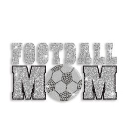 Silver & Black Football Mom Soccer Iron on Glitter Rhinestone Transfer