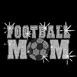 Silver & Black Football Mom Soccer Iron on Glitter Rhinestone Transfer