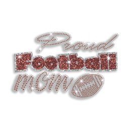 Custom Proud Football Mom Rhinestone Glitter Hot-fix Transfer