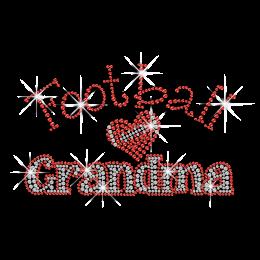 Ruby Football Grandma Heart Rhinestone Hot Fix Transfer