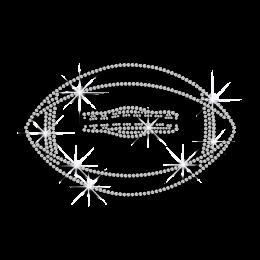 Crystal Custom American Football Iron on Rhinestone Transfer