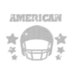 Crystal American Football Helmet with Stars Iron-on Motif Design