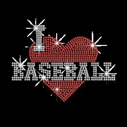 Heart I Love Baseball Rhinestone Iron on Transfer