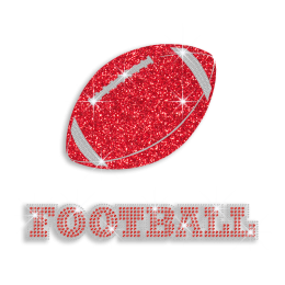 Cool Red American Football Iron on Rhinestone Glitter Transfer
