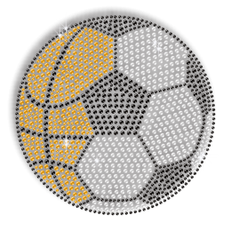 Attractive Crystal Soccer Iron on Rhinestud Motif