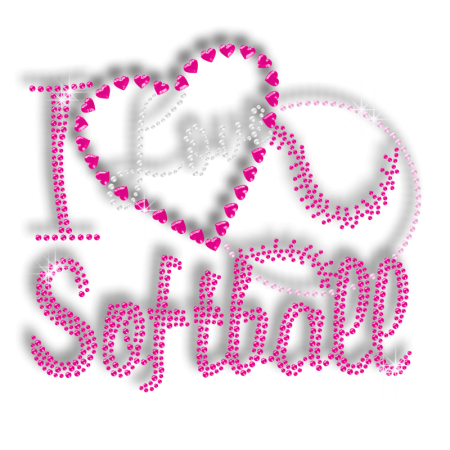 Softball Pink Queen Nailhead Crystal Hotfix Transfer Design