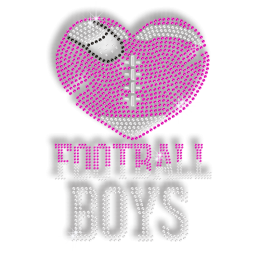Football Boys' Unbreakable Heart Heat Press Rhinestud Motif