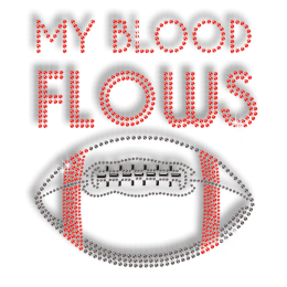 My Blood Flows Football Fanaticism Bling Hot Fix Transfer