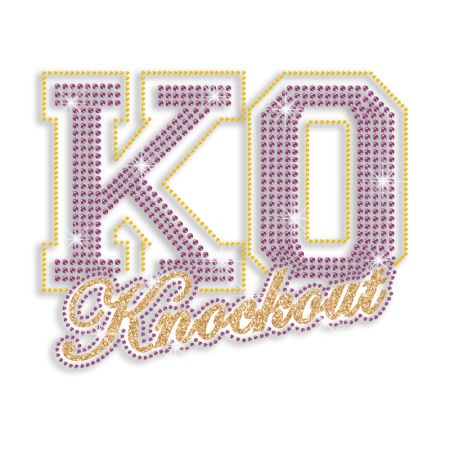Custom Wrestling KO Knockout Rhinestone Glitter Iron on Transfer