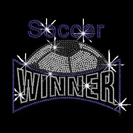 Crystal Black Soccer Winner Rhinestone Iron on Transfer