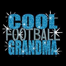 Custom Cool Football Grandma Rhinestone Glitter Iron on Transfer