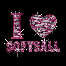 Rose Pink I Love Softball Rhinestone Iron on Transfer