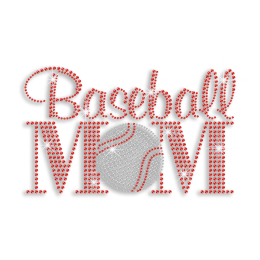 2015 Hot Ruby Baseball Mom Rhinestone Iron on Transfer