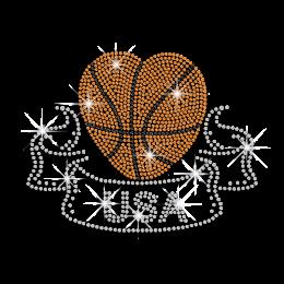 2015 Orange USA Basketball Heart Rhinestone Rhinestud Iron on Transfer