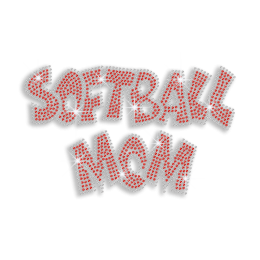 Ruby Softball Mom Iron on Rhinestone Transfer
