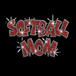 Ruby Softball Mom Iron on Rhinestone Transfer
