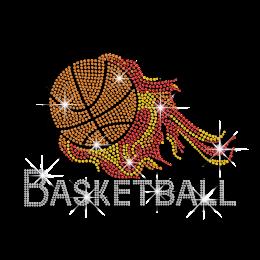 Shiny Basketball on Fire Iron-on Rhinestone Transfer
