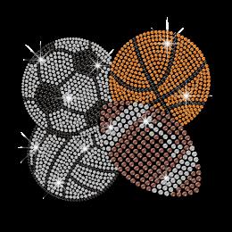 Cool Bling Ball Games Iron on Basketball Baseball Football Soccer