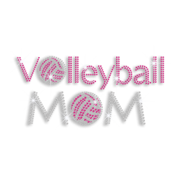 Pink Volleyball Mom Iron-on Rhinestone Transfer Motif
