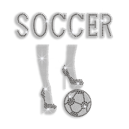 Crystal Soccer Lady with High Heels Iron on Rhinestone Transfers