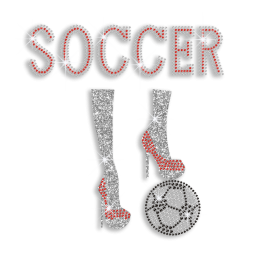 Crystal Soccer with Ruby High Heels Iron on Rhinestone Transfers
