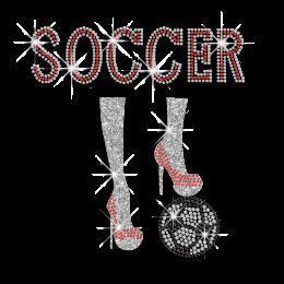 Crystal Soccer with Ruby High Heels Iron on Rhinestone Transfers