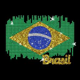 Colorful Brazil Team Logo Iron on Rhinestone Glitter Nailhead Transfer