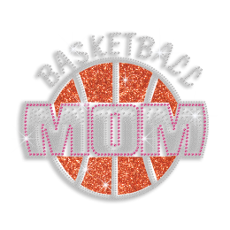 Magic Show Cute Basketball Mom Iron on Glitter Rhinestone Transfer