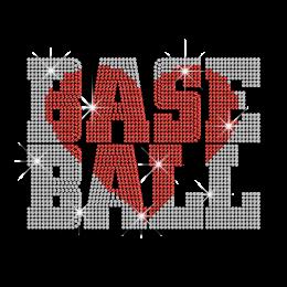 Magic Show Love Baseball with Heart Iron on Rhinestone Transfer