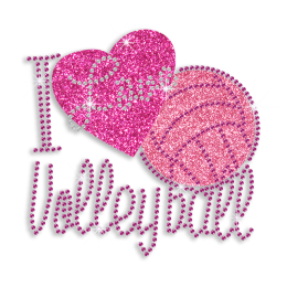 Kid Show I Love Volleyball Glitter Nailhead Iron on Transfer