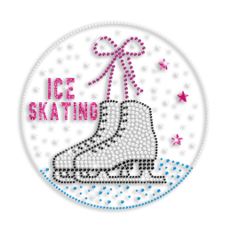 Kid Show Ice Skating Shoes with Bow Glitter Nailhead Iron on Transfer