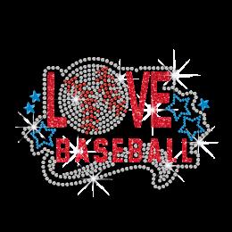 Kid Show Love Baseball Glitter Nailhead Iron on Transfer