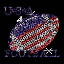 Bling USA Football Iron-on Rhinestone Transfer