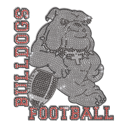 Shimmery Bulldog Football Iron-on Rhinestone Transfer