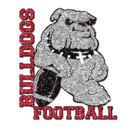 Bling Bulldog Football Glitter Iron on Transfer