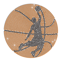 Cool Bling Basketball Iron-on Rhinestone Transfer