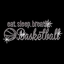 Eat Sleep & Play Basketball Iron-on Rhinestone Transfer