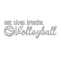Eat Sleep Breathe & Volleyball Rhinestone Transfer